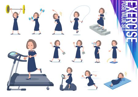 A set of dress fashion women on exercise and sports.There are various actions to move the body healthy.It's vector art so it's easy to edit.