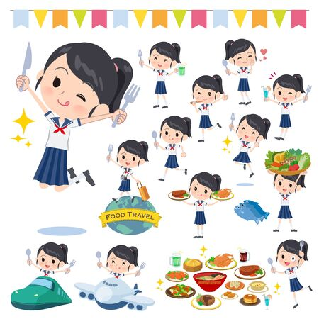 A set of sailor suit girl on food events.There are actions that have a fork and a spoon and are having fun.Its vector art so its easy to edit.