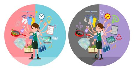 A set of Short sleeved school girl who perform multitasking in offices and private.There are things to do smoothly and a pattern that is in a panic.It's vector art so it's easy to edit. Çizim