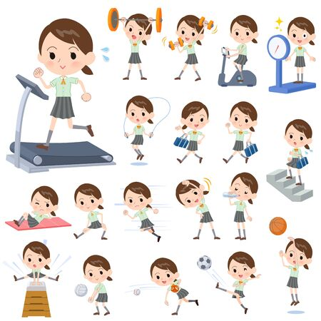 A set of Short sleeve school girl on exercise and sports.There are various actions to move the body healthy.It's vector art so it's easy to edit.