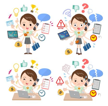 A set of Short sleeve school girl who perform multitasking in the office.There are things to do smoothly and a pattern that is in a panic.It's vector art so it's easy to edit.