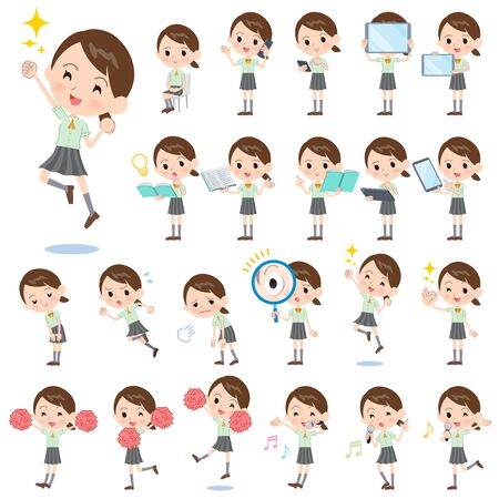 A set of Short sleeve school girl with digital equipment such as smartphones.There are actions that express emotions.It's vector art so it's easy to edit.