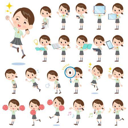Un ensemble d'écolières à manches courtes avec des équipements numériques tels que des smartphones. Il y a des actions qui expriment des émotions. C'est de l'art vectoriel, il est donc facile à modifier.