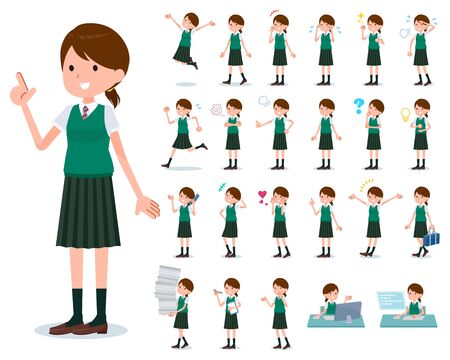 A set of Short sleeved school girl with who express various emotions.There are actions related to workplaces and personal computers.It's vector art so it's easy to edit.