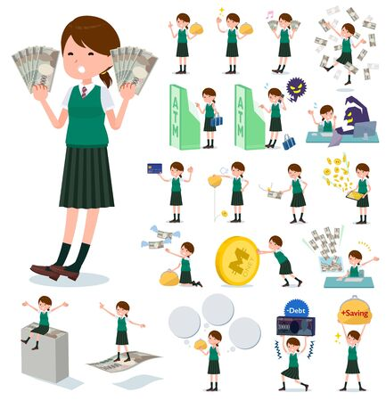 A set of Short sleeved school girl with concerning money and economy.There are also actions on success and failure.It's vector art so it's easy to edit.