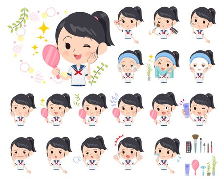 A set of sailor suit girl on beauty.There are various actions such as skin care and makeup.Its vector art so its easy to edit.