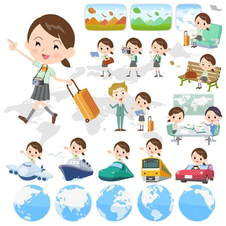 A set of Short sleeve school girl on travel.There are also vehicles such as boats and airplanes.It's vector art so it's easy to edit. Illusztráció