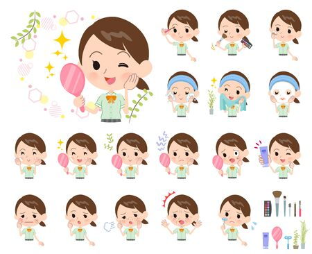 A set of Short sleeve school girl on beauty.There are various actions such as skin care and makeup.Its vector art so its easy to edit. Stock Illustratie