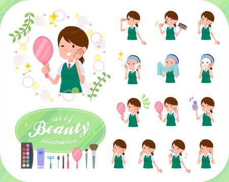 A set of Short sleeved school girl on beauty.There are various actions such as skin care and makeup.It's vector art so it's easy to edit. Stockfoto - 140888902