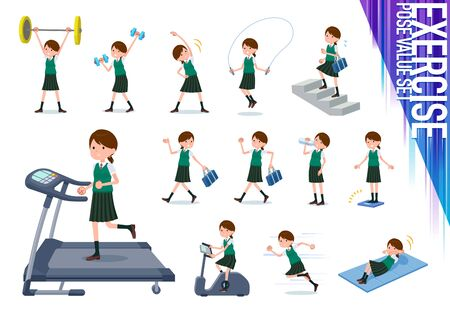 A set of Short sleeved school girl on exercise and sports.There are various actions to move the body healthy.Its vector art so its easy to edit.