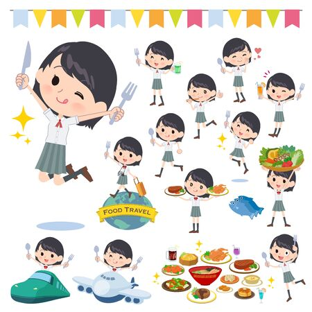 A set of Short sleeve school girl on food events.There are actions that have a fork and a spoon and are having fun.Its vector art so its easy to edit. Ilustracja