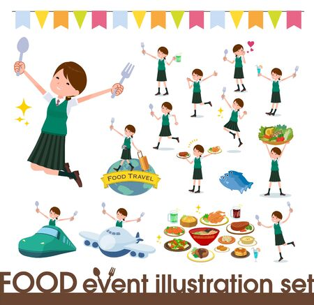 A set of Short sleeved school girl on food events.There are actions that have a fork and a spoon and are having fun.Its vector art so its easy to edit.