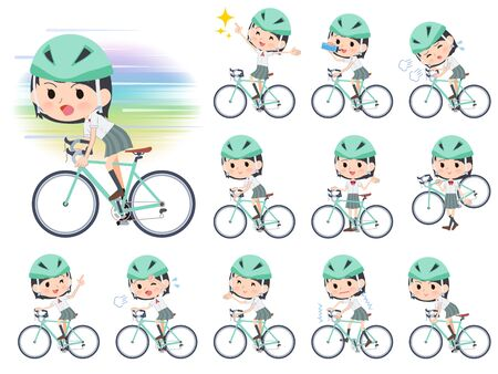 A set of Short sleeve school girl on a road bike.There is an action that is enjoying.It's vector art so it's easy to edit.