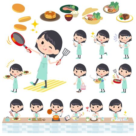A set of Short sleeve school girl about cooking.There are actions that are cooking in various ways in the kitchen.It's vector art so it's easy to edit.