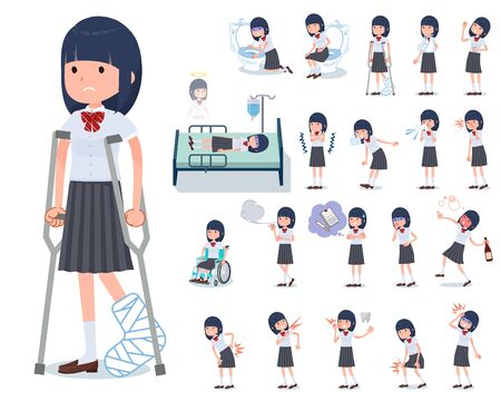 A set of Short sleeved school girl with injury and illness.There are actions that express dependence and death.Its vector art so its easy to edit.