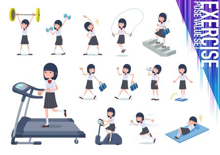 A set of Short sleeved school girl on exercise and sports.There are various actions to move the body healthy.It's vector art so it's easy to edit.