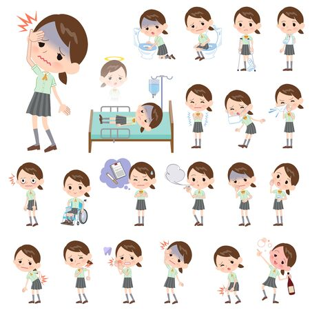 A set of Short sleeve school girl with injury and illness.There are actions that express dependence and death.Its vector art so its easy to edit. Ilustrace