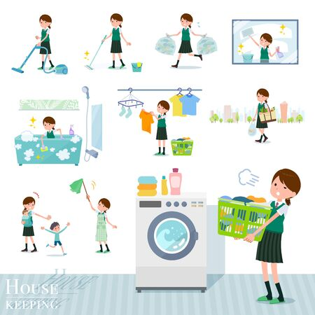 A set of Short sleeved school girl related to housekeeping such as cleaning and laundry.There are various actions such as child rearing.It's vector art so it's easy to edit. Ilustração