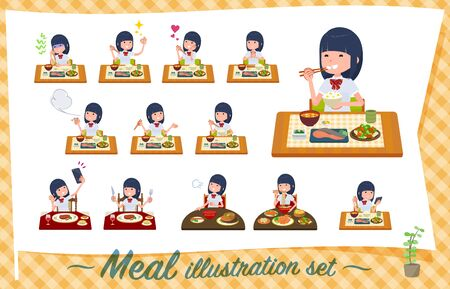 A set of Short sleeved school girl about meals.Japanese and Chinese cuisine, Western style dishes and so on.It's vector art so it's easy to edit.