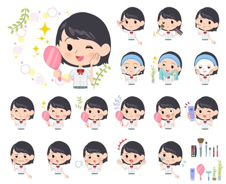 A set of Short sleeve school girl on beauty.There are various actions such as skin care and makeup.It's vector art so it's easy to edit.