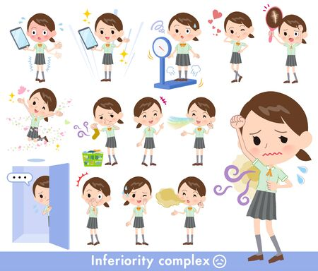 A set of Short sleeve school girl on inferiority complex.There are actions suffering from smell and appearance.It's vector art so it's easy to edit.