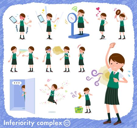 A set of Short sleeved school girl on inferiority complex.There are actions suffering from smell and appearance.It's vector art so it's easy to edit.