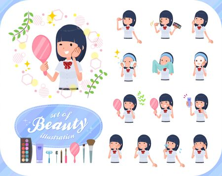 A set of Short sleeved school girl on beauty.There are various actions such as skin care and makeup.It's vector art so it's easy to edit. Stockfoto - 140888793