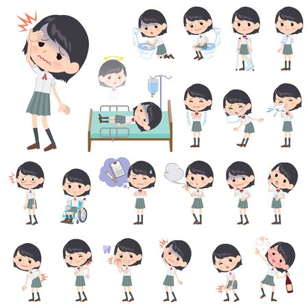 A set of Short sleeve school girl with injury and illness.There are actions that express dependence and death.It's vector art so it's easy to edit. Standard-Bild - 140888823