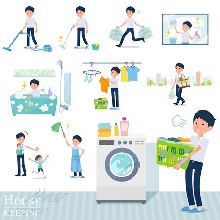 A set of short sleeve schoolboy related to housekeeping such as cleaning and laundry.There are various actions such as child rearing.It's vector art so it's easy to edit. Ilustração