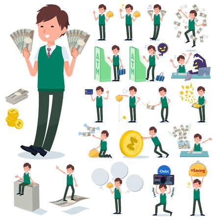A set of short sleeve schoolboy with concerning money and economy.There are also actions on success and failure.It's vector art so it's easy to edit.