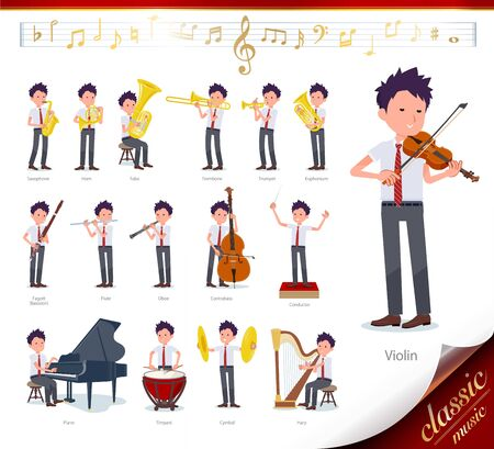 A set of short sleeve schoolboy on classical music performances.There are actions to play various instruments such as string instruments and wind instruments.It's vector art so it's easy to edit.
