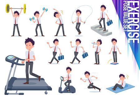 A set of short sleeve schoolboy on exercise and sports.There are various actions to move the body healthy.It's vector art so it's easy to edit.