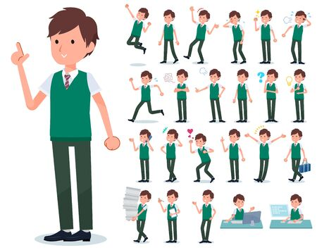 A set of short sleeve schoolboy with who express various emotions.There are actions related to workplaces and personal computers.It's vector art so it's easy to edit.