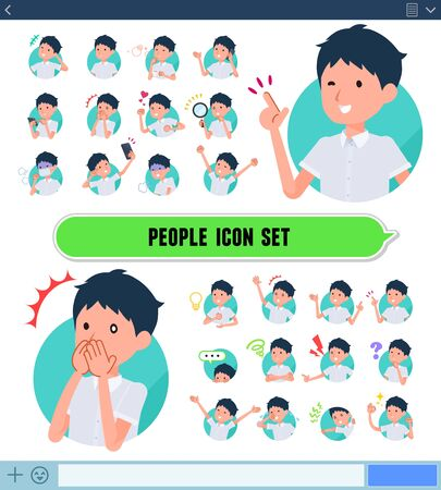 A set of short sleeve schoolboy with expresses various emotions on the SNS screen.There are variations of emotions such as joy and sadness.It's vector art so it's easy to edit.