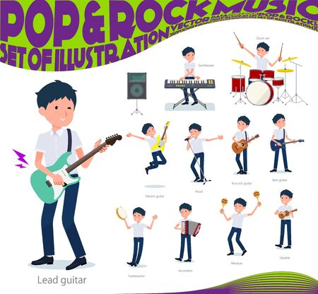 A set of short sleeve schoolboy playing rock 'n' roll and pop music.There are also various instruments such as ukulele and tambourine.It's vector art so it's easy to edit.