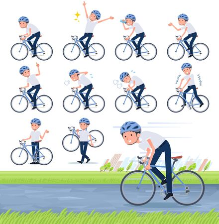 A set of short sleeve schoolboy on a road bike.There is an action that is enjoying.It's vector art so it's easy to edit.
