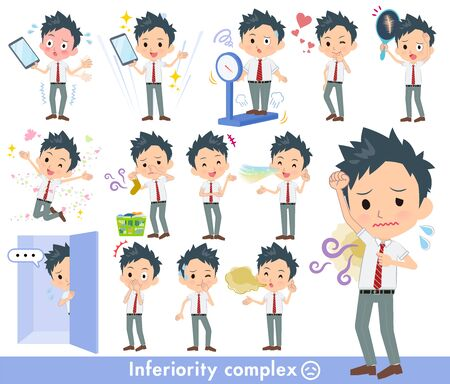 A set of school boy on inferiority complex.There are actions suffering from smell and appearance.Its vector art so its easy to edit.  Ilustração