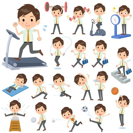 A set of school boy on exercise and sports.There are various actions to move the body healthy.It's vector art so it's easy to edit.