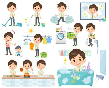 A set of school boy related to housekeeping such as cleaning and laundry.There are various actions such as cooking and child rearing.It's vector art so it's easy to edit.
