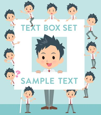 A set of school boy with a message board.Since each is divided, you can move it freely.It's vector art so it's easy to edit.