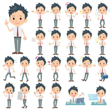 A set of school boy with who express various emotions.There are actions related to workplaces and personal computers.It's vector art so it's easy to edit.