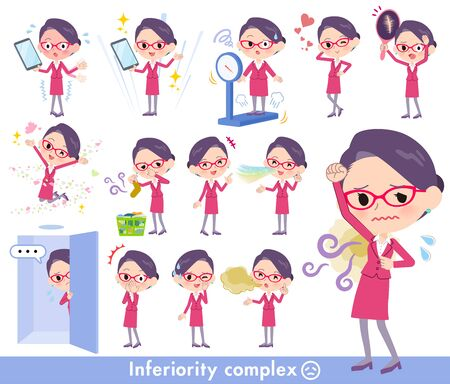 A set of women on inferiority complex.There are actions suffering from smell and appearance.Its vector art so its easy to edit. Ilustração