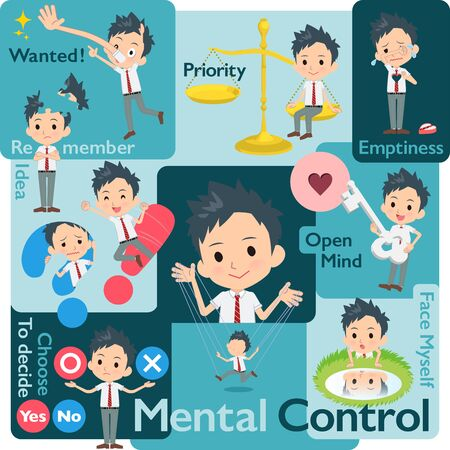 A set of school boy who control emotions.A variety of image illustrations expressing self emotion.It's vector art so it's easy to edit. Vector Illustratie