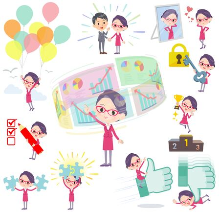 A set of women on success and positive.There are actions on business and solution as well.It's vector art so it's easy to edit.