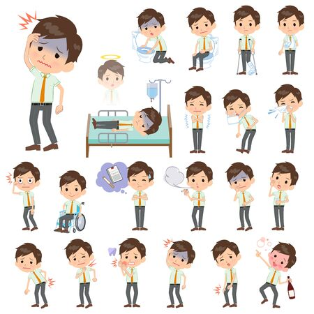 A set of school boy with injury and illness.There are actions that express dependence and death.It's vector art so it's easy to edit.