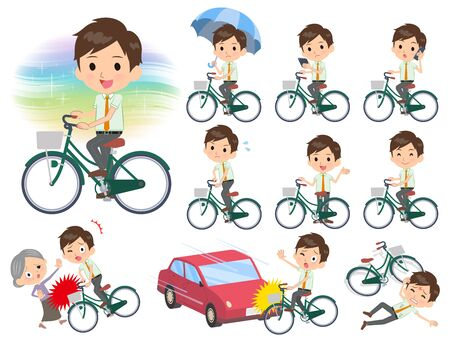 A set of school boy riding a city cycle.There are actions on manners and troubles.It's vector art so it's easy to edit.