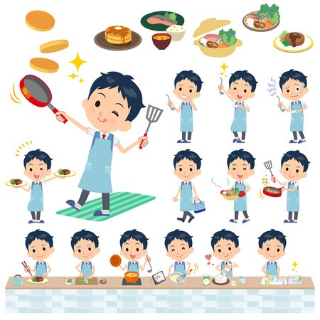 A set of school boy about cooking.There are actions that are cooking in various ways in the kitchen.It's vector art so it's easy to edit.