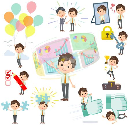 A set of school boy on success and positive.There are actions on business and solution as well.It's vector art so it's easy to edit. Illustration