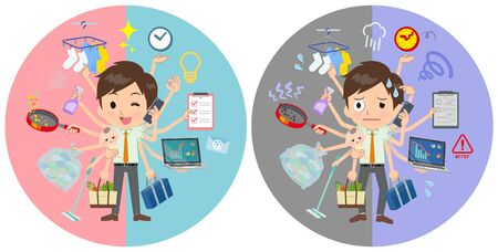A set of school boy who perform multitasking in offices and private.There are things to do smoothly and a pattern that is in a panic.It's vector art so it's easy to edit. Vetores