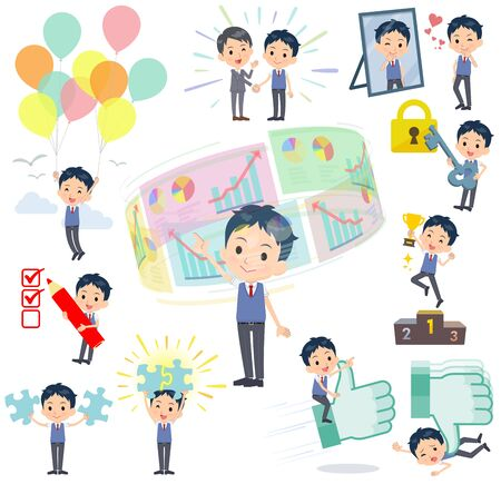 A set of school boy on success and positive.There are actions on business and solution as well.It's vector art so it's easy to edit.
